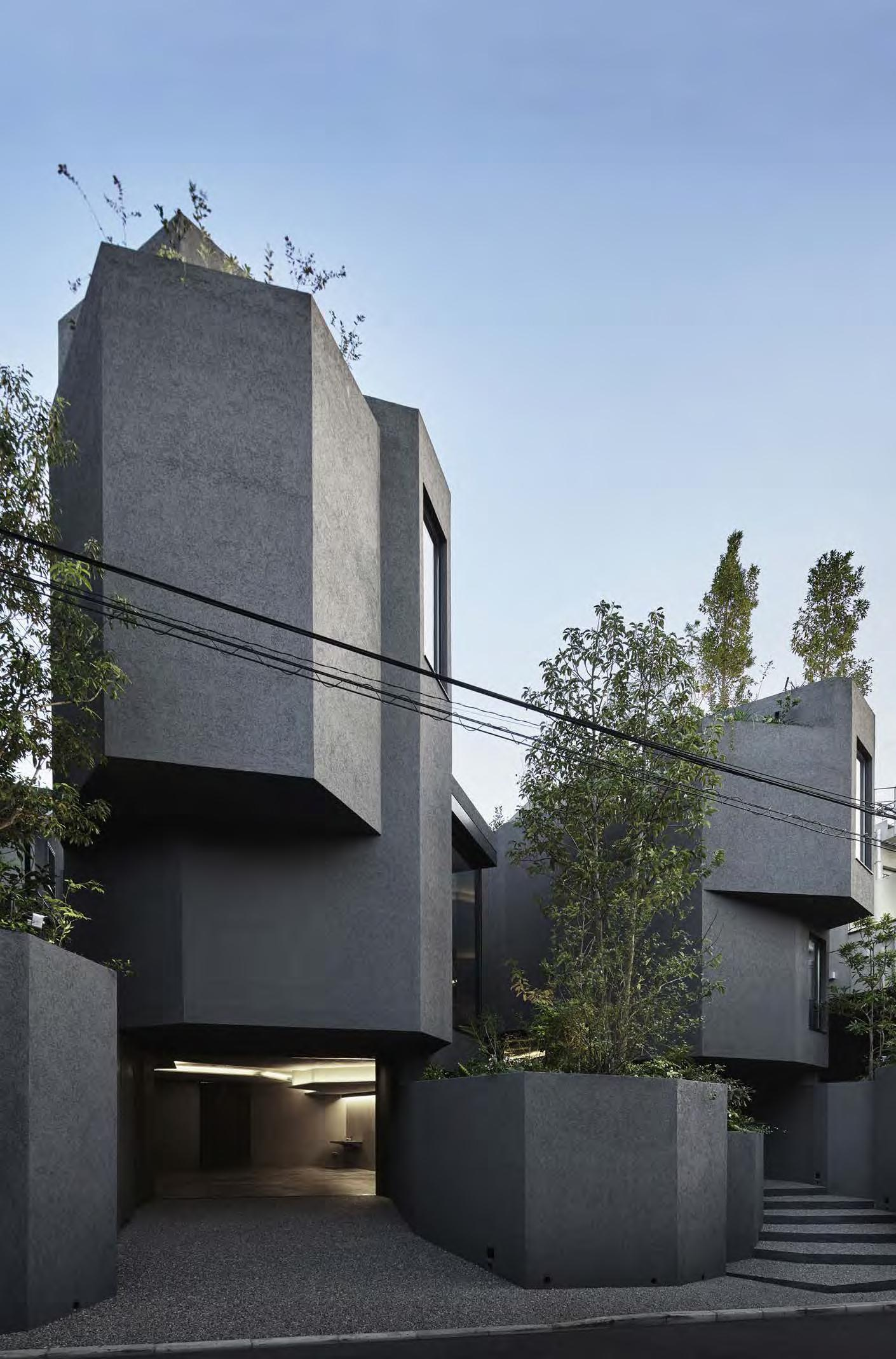 Exterior of the geometric shape of Path House