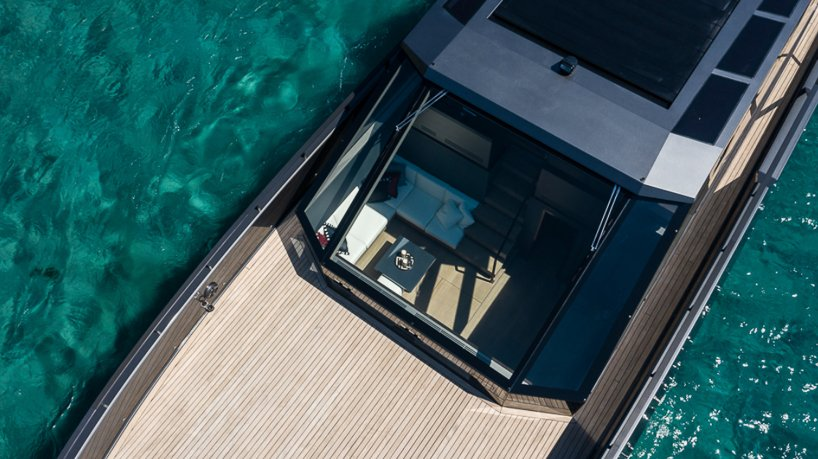 mazu's 82ft yacht combines an angular profile with cozy, home-like interiors designboom
