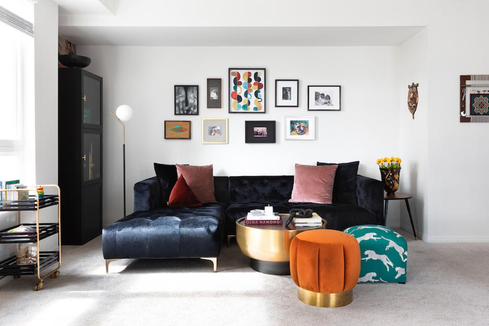A living room designed by Brar featuring an Interior Define sofa
